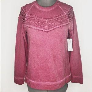 ana  Long Sleeve Dusty Rose Fleece Sweater